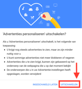 Opt out functie Google
