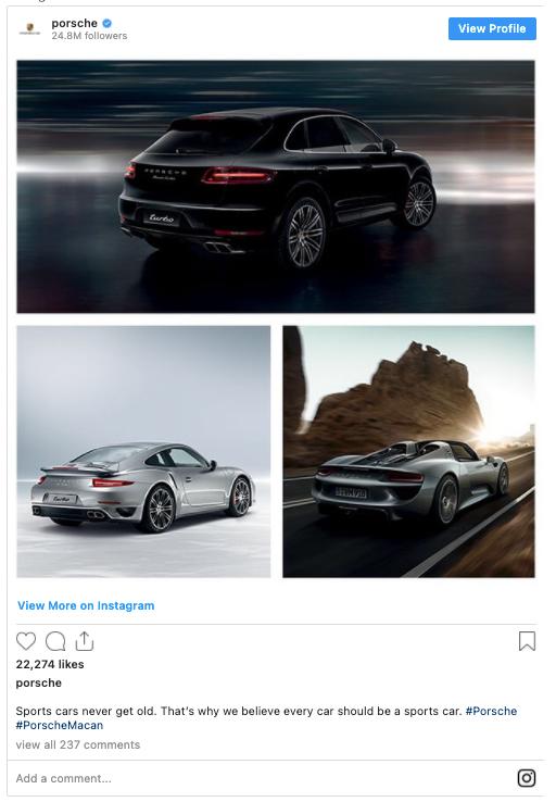 Porsche instagram account